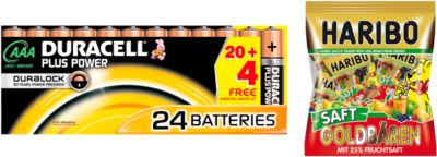 Sparset DURACELL® Batterie Plus Power, Micro AAA, 24 St. + Gratis Haribo