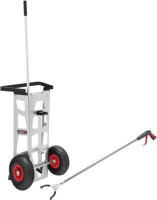 Sparset Handwagen Flora Easy, mit Greifzange Greifboy 50 inkl. Halterung & Halterung für 120 l Müllsack, Aluminium/Stahl
