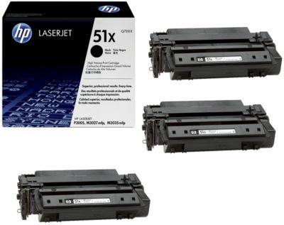Sparset HP LaserJet Q7551X Druckkassette 3 x schwarz