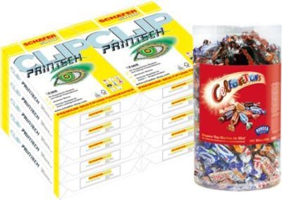 Sparset Kopierpapier CLIP PrinTech, DIN A4, 10.000 Blatt + 1,5 kg Celebrations