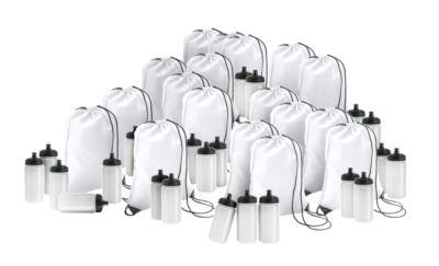 Sparset Rucksack und Trinkflasche, 100 Teile, inkl. einfarbigem Druck und Grundkosten, weiss