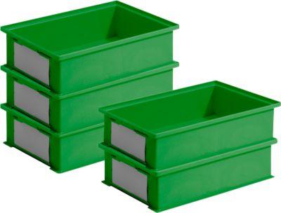 Sparset Stapelboxen Serie 14/6-2-H, PP-Kunststoff, Inhalt 12 Liter, grün, 5 Stück