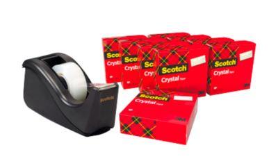Sparset Tischabroller Scotch® + 10 Rollen Scotch® Crystal Klebeband, für Rollen bis B 19 mm, schwarz