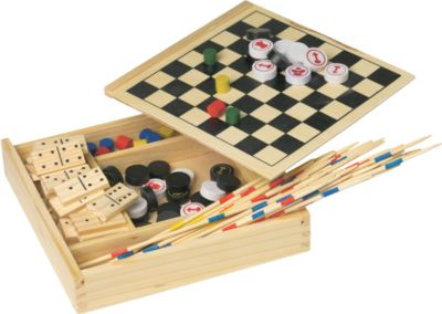 Spielset in Holzbox, Domino/Mikado/Schach/Dame/Ludo, B167xT167xH28 mm, WAB 1-farbig