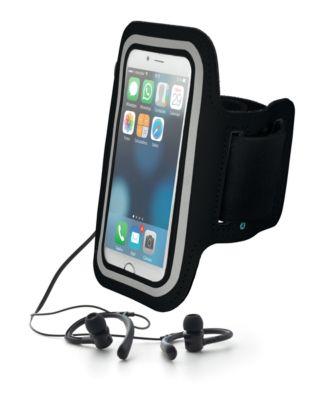 Sport-Set ARMPHONE, schwarz, aus Neopren, mit Sichtfenster und Sportohrhörer