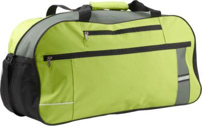 Sporttasche BANTANA, 600D Kunststoff, Reißverschlussfächer, mit Reflektorstreifen, limettengrün