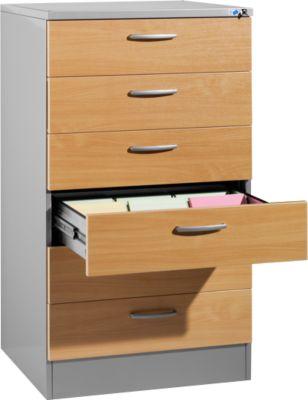 SSI Schäfer Karteischrank, 3-bahnig, 6-Auzüge, DIN A5, 780 x 600 x 1350 mm, alusilber/Buche-Dekor
