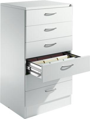 SSI Schäfer Karteischrank, 3-bahnig, 6-Auzüge, DIN A5, 780 x 600 x 1350 mm, lichtgrau