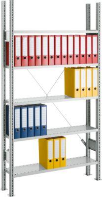 SSI SCHÄFER stelling, basiselement, 5 legborden, b 750 x d 300 mm, verzinkt