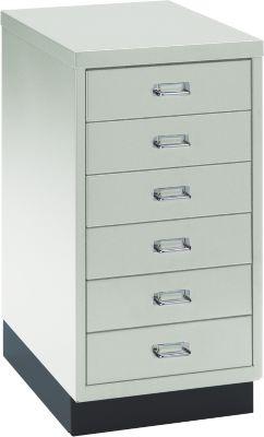 SSI Schubladenschrank DIN A3, 6 Schübe, 675 mm hoch, lichtgrau