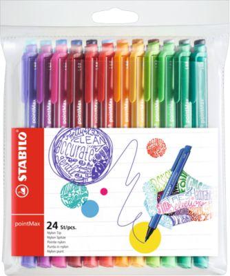 Stabilo Filzstifte pointMax, 24 Farben, Strichstärke 0,8 mm, im Etui
