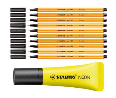 STABILO Fineliner Point 88, schwarz, 10 Stück+Textmarker Stabilo Neon GRATIS