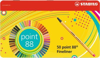 Stabilo Fineliner Point 88, Strichbreite 0,4 mm, 50 Stück, im Metalletui