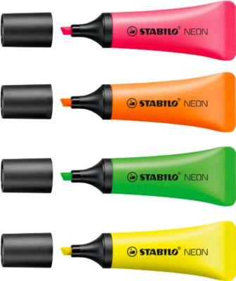 STABILO® tekstmarker Neon, diverse kleuren, set van 4 (geel, oranje, groen en roze)