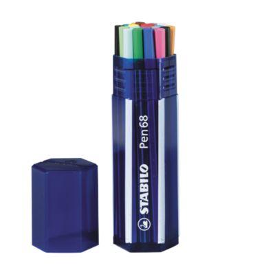 STABILO® Viltstiften Pen 68,  zeshoekige box van 20 stiften