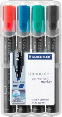 STAEDTLER Lumocolor permanent marker 350, 10 Stück, 4er Set, farbsortiert