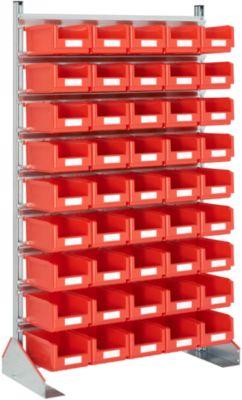 Ständerregal einseitig, B 1130 x T 500 x H 1885 mm, 45 x 7,5 l, rot