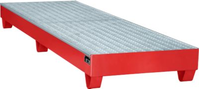 Stahl-Auffangwanne mit Gitterrost, 2400 x 800 mm, rot RAL 3000