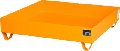 Stahl-Auffangwanne ohne Gitterrost, 1200 x 1200 mm, orange RAL 2000