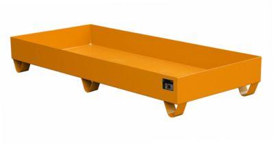 Stahl-Auffangwanne ohne Gitterrost, 1800 x 800 mm, orange RAL 2000