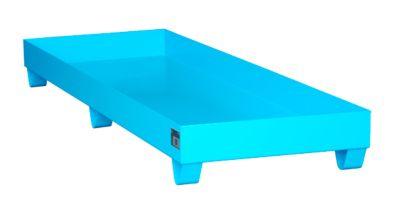 Stahl-Auffangwanne ohne Gitterrost, 2400 x 800 mm, blau RAL 5012