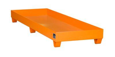 Stahl-Auffangwanne ohne Gitterrost, 2400 x 800 mm, orange RAL 2000
