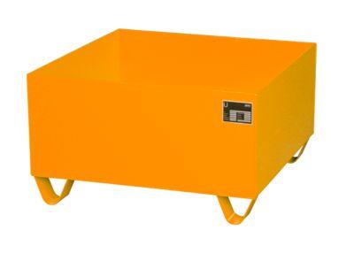 Stahl-Auffangwanne ohne Gitterrost, 800 x 800 mm, orange RAL 2000