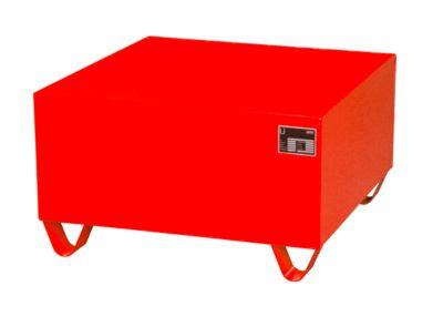 Stahl-Auffangwanne ohne Gitterrost, 800 x 800 mm, rot RAL 3000