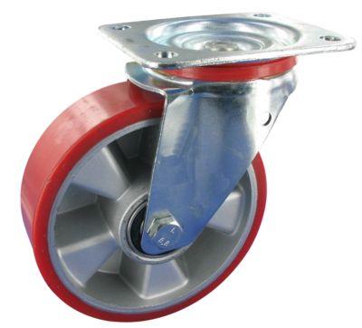 Stahlblech-Lenkrolle mit Anschraubplatte, Rad mit Alufelge, Rad-ø 100 mm