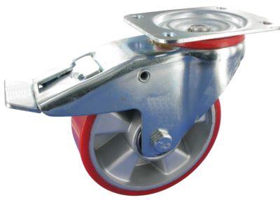 Stahlblech-Lenkrolle mit Anschraubplatte und Feststeller, Rad-ø 100 mm