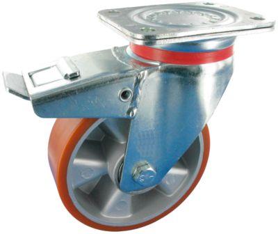 Stahlblech-Lenkrolle mit Anschraubplatte und Feststeller, Rad-ø 82 mm