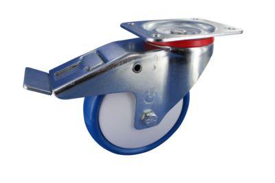 Stahlblech-Lenkrollen mit Anschraubplatte und Feststeller, Rad-ø 80 mm