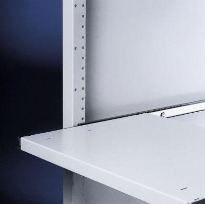 Stahlfachboden, für Server-Schrank, ausziehbar, 500 mm tief, lichtgrau