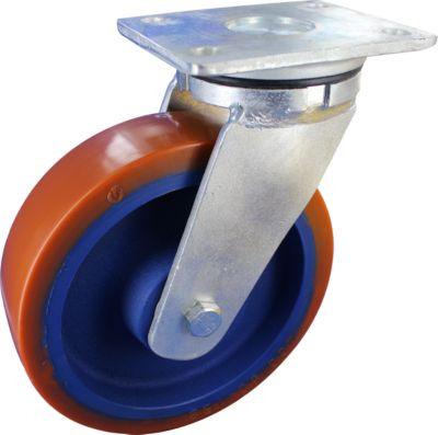 Stahlgeschweißte Lenkrolle mit Anschraubplatte, Rad-ø 100 mm