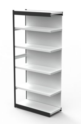 Stahlregal PROGRESS 2000, Regalfeld, Rückwand, H 2250 x B 750 x T 300 mm, Rahmen schwarz