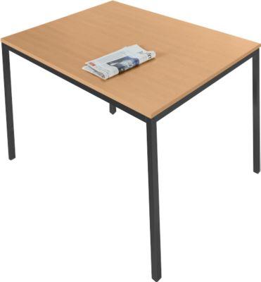 Stahlrohr-Tisch, 1200 x 800 mm, Buche-Dekor/schwarz