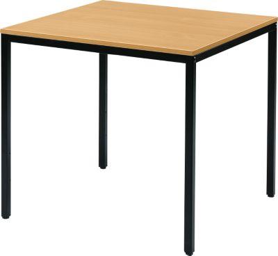 Stahlrohr-Tisch, 800 x 800 mm, Buche-Dekor/schwarz