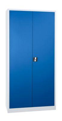 Stahlschrank, höhenverstellbarer Fachboden, abschließbar, H 1800 mm, lichtgrau/enzianblau