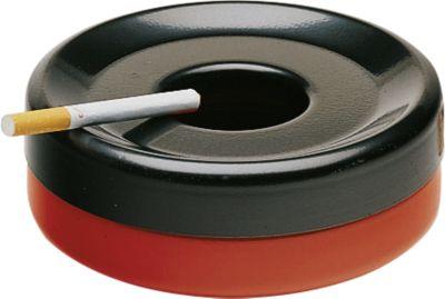 Stalen asbak Rondo Piccolo, rood/zwart, stuk