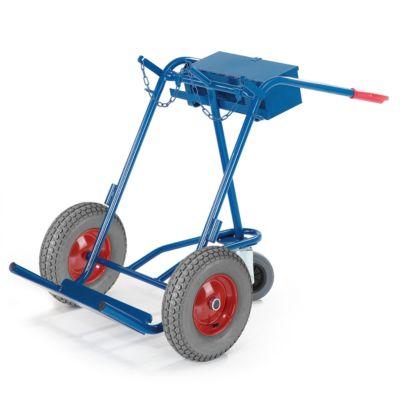 Stalen gasflessenwagen met steunwiel, massief rubber banden