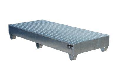 Stalen opvangbak, l 1800 x b 800 mm, met rooster, verzinkt