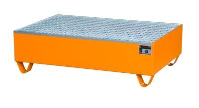 Stalen opvangbak, met rooster, l 1200 x b 800 mm, gelakt oranje RAL 2000