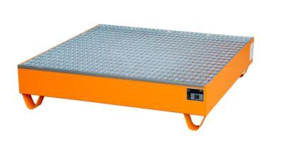 Stalen opvangbakken - 1200 x 1200 mm - oranje RAL 2000 - met rooster