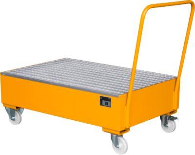 Stalen opvangbakken - 1200 x 800 mm - met wielen en greep - oranje RAL 2000