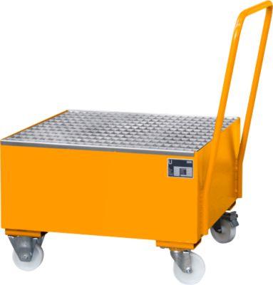 Stalen opvangbakken - 800x800mm - met wielen en greep - oranje RAL2000