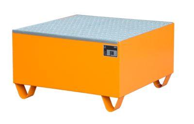 Stalen opvangbakken - 800 x 800 mm - oranje RAL 2000 - met rooster