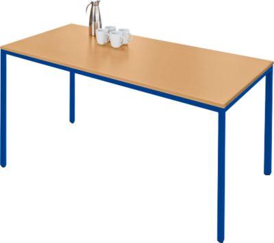 Stalen tafel, 1600 x 800 mm, beukend./blauw