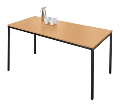 Stalen tafel, 1600 x 800 mm, beukend./zwart