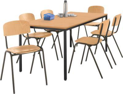 Stalen tafel met 6 stapelstoelen, onderstel tafel zwart/onderstel stoel bruin