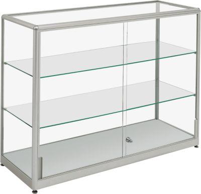 Stand-Präsentationsvitrine, stabiler Aluminium-Rahmen, 1500 x 400 x 910 mm